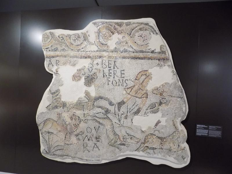 Archéologie-fragment mosaïque-Malaga romain photographie stock