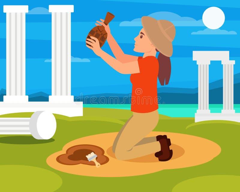 Archéologue de femme avec la vieille cruche en céramique dans des mains Excavations archéologiques en Grèce Colonnes, mer et ciel illustration libre de droits