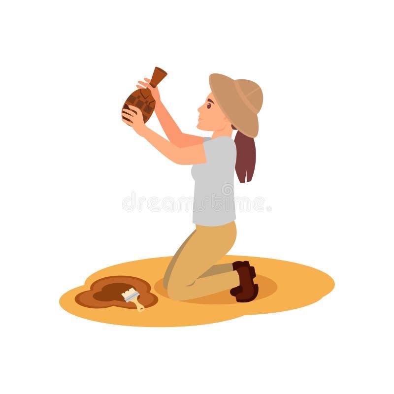 Archéologue de femme se tenant sur des genoux avec la cruche en céramique antique dans des mains Excavations archéologiques Conce illustration de vecteur