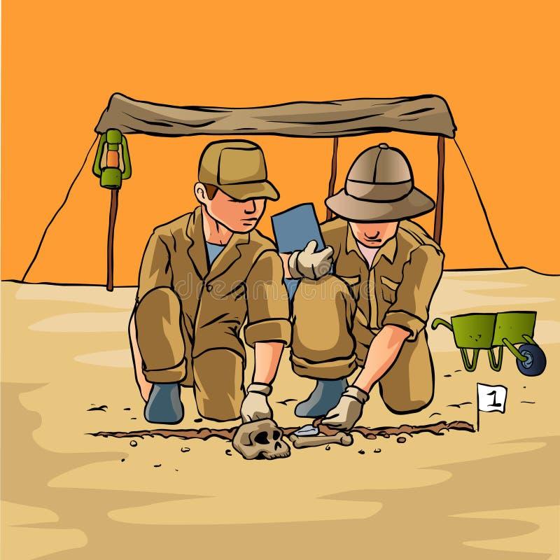 Archéologues travaillant dans le domaine, illustration de vecteur