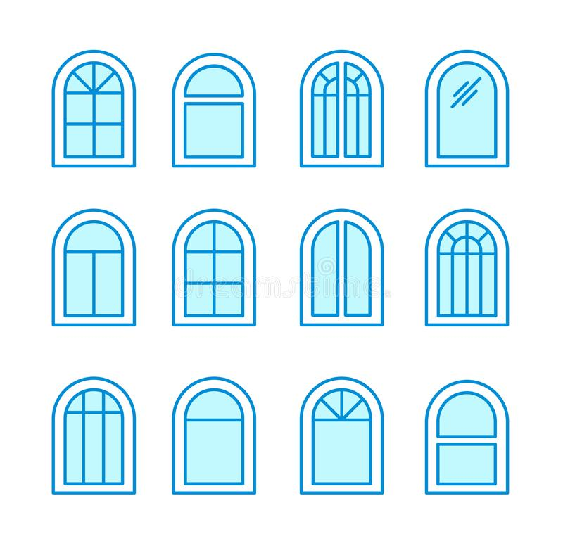 Arch & arched window. Casement & awning window frames. Flat line icon set. Vector illustration. Isolated objects. On white background stock illustration