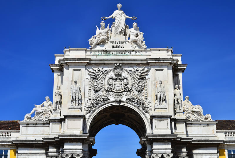 The arch of Augusta Rua in Lisbon, Portugal stock photos