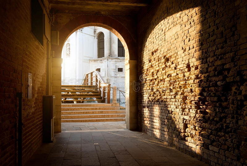 Arch and brick walls stock image