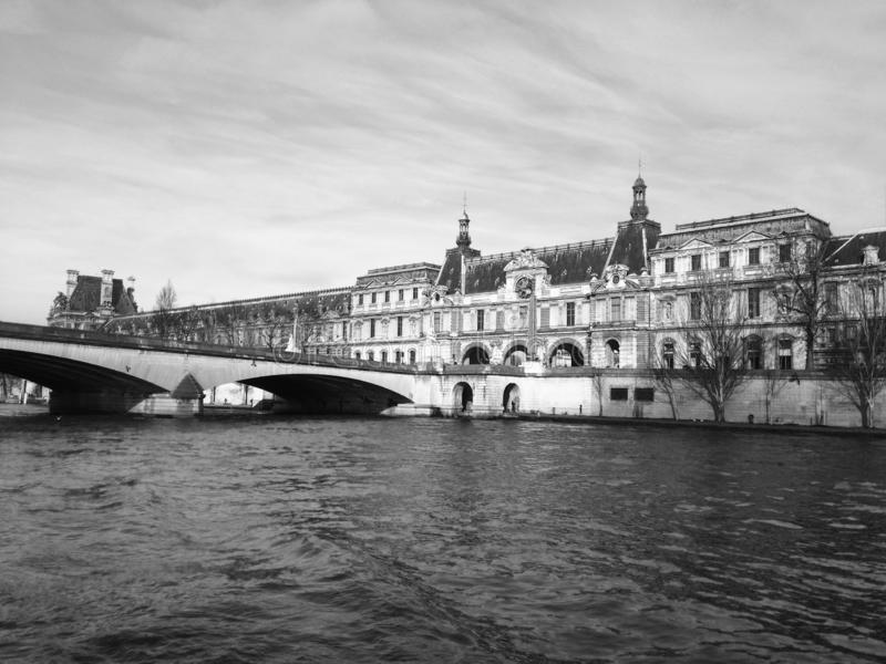 Arch bridge across the river, Luxembourg Palace, Seine River, Paris royalty free stock image