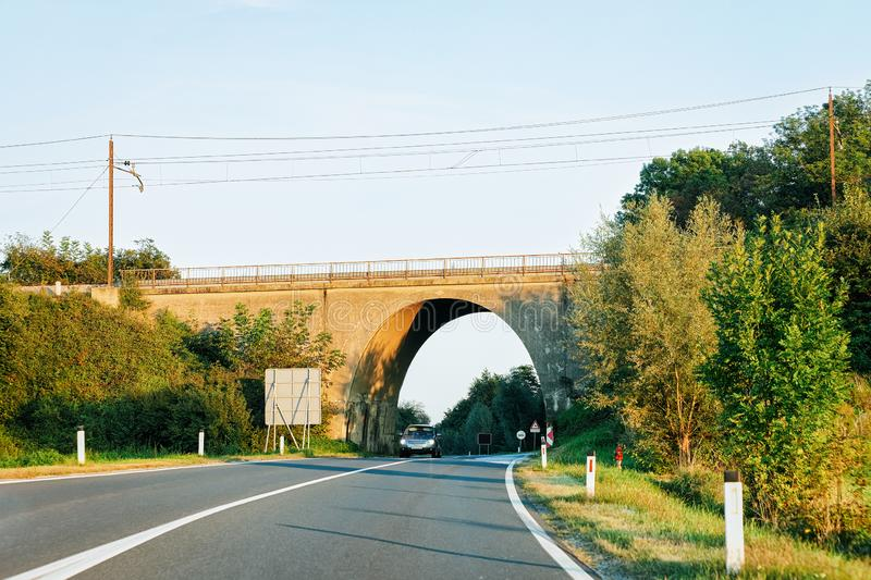 Arch Bridge on highway Road in Maribor Slovenia. Arch Bridge on the highway Road in Maribor in Slovenia royalty free stock image