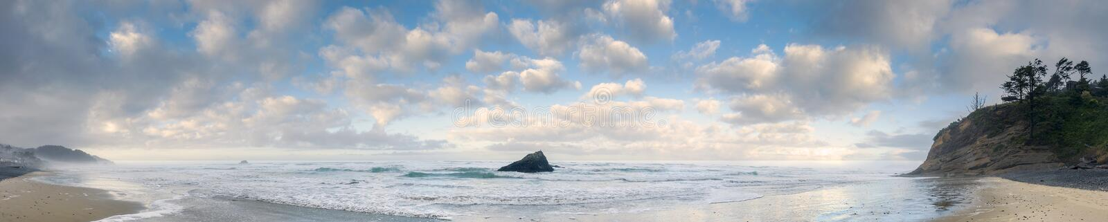 Panoramic View of Arch Cape, Oregon. royalty free stock image