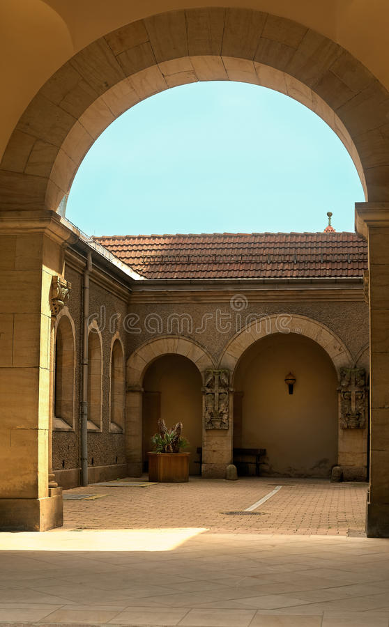 Arch of the chapel at the South Cemetery of Leipzig royalty free stock photos