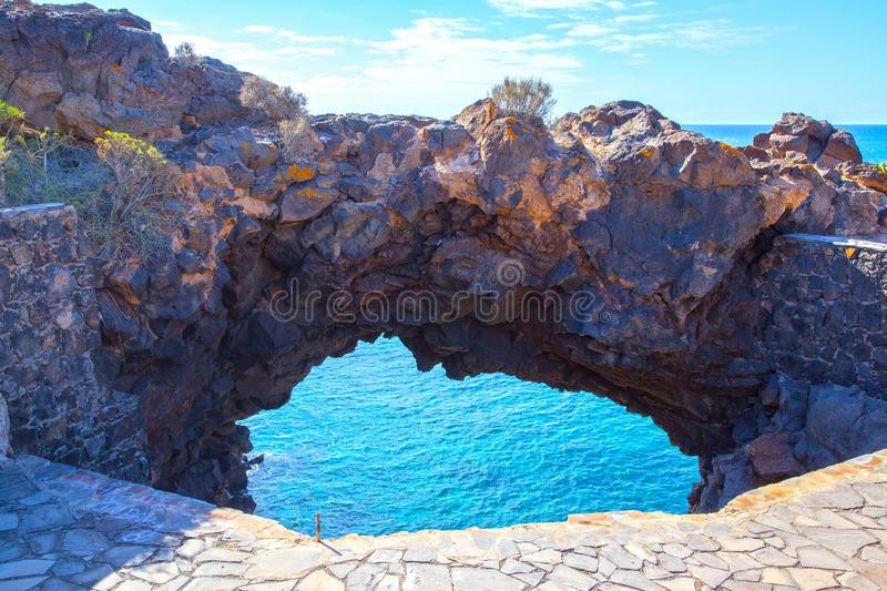 Arch on the coast of Tenerife royalty free stock photography
