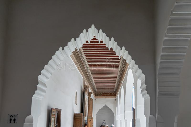 Arch and coffered ceiling in the Bahia Palace in Marrakech. Morocco stock photos