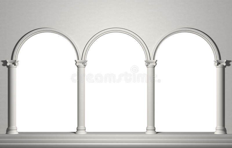 Arch with columns stock illustration