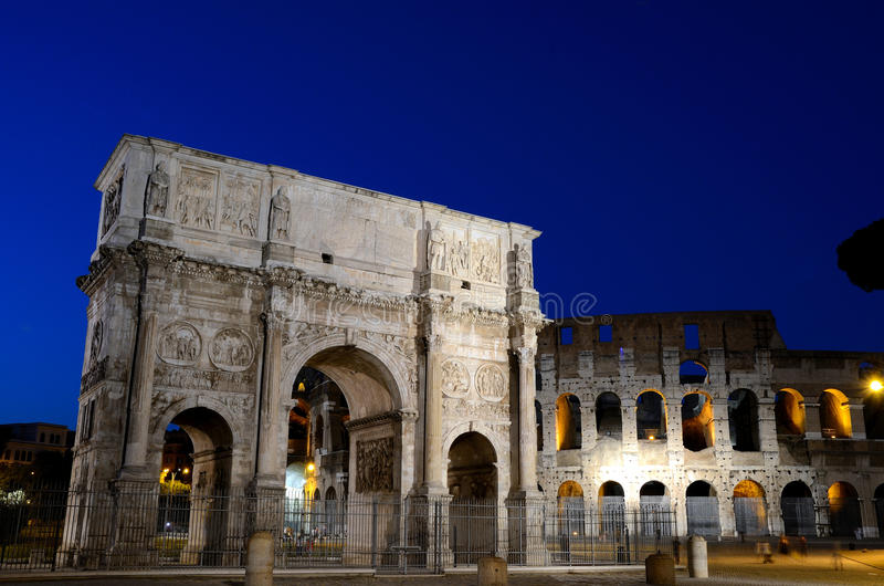 Download Arch Of Constantine And Colosseum At Night Royalty Free Stock Photography - Image: 25773217