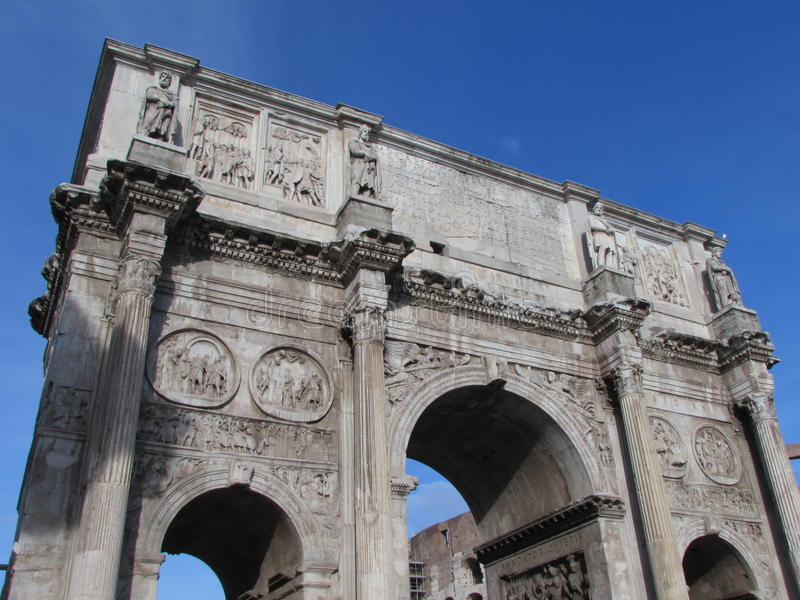 The Arch of Constantine , the largest triumphal arch - Rome - Italy stock photography