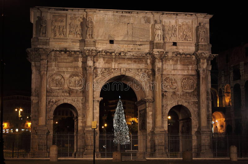 Arch of Constantine by night in Christmas time stock photography