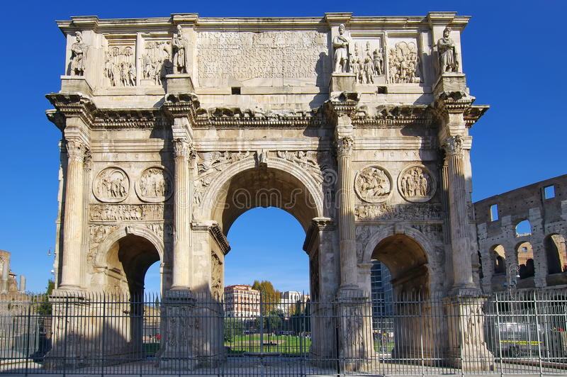 The Arch of Constantine - landmark attraction in Rome, Italy. The Arch of Constantine, front view - landmark attraction in Rome, Italy royalty free stock photography
