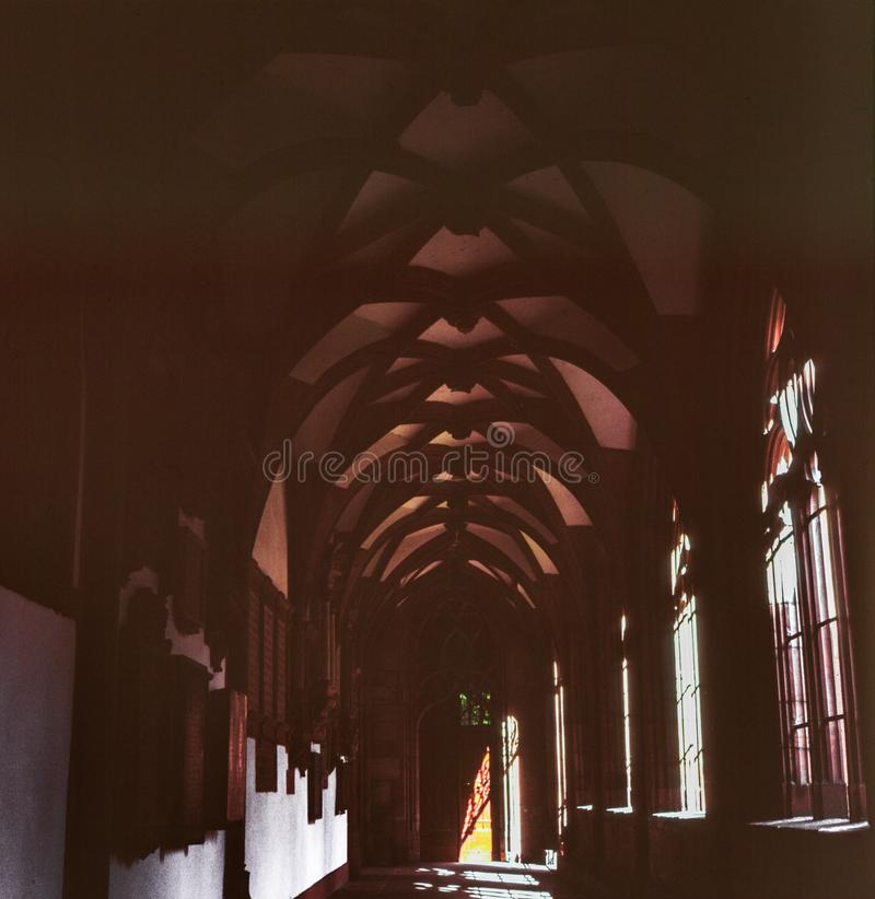 A arch corridor in an old renassaince building in Basel, Switzerland, shot with analogue film photography royalty free stock photography