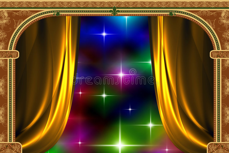 Arch, curtain and the light vector illustration