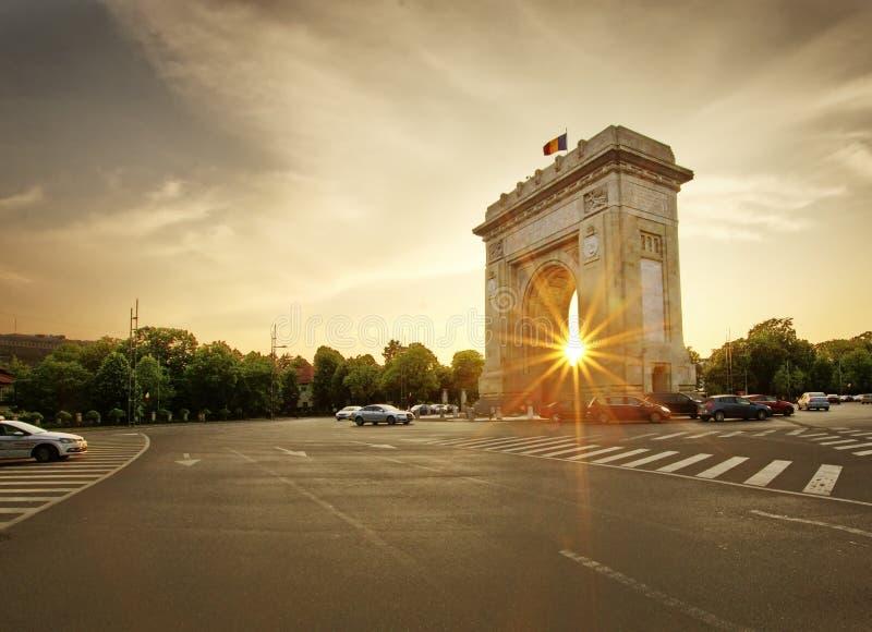 Arch of de triumph Bucharest, Romania Arcul de triumf. Arch de Triumpf at sunset in Bucharest, Romania royalty free stock photos
