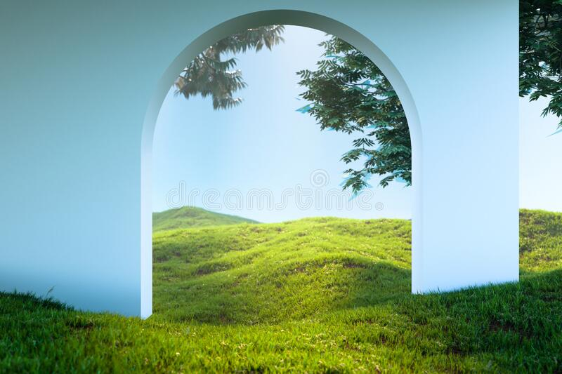 Arch Or Door To heaven Meadow. Beautiful Landscape, Happy Afterlife. 3d rendering stock images