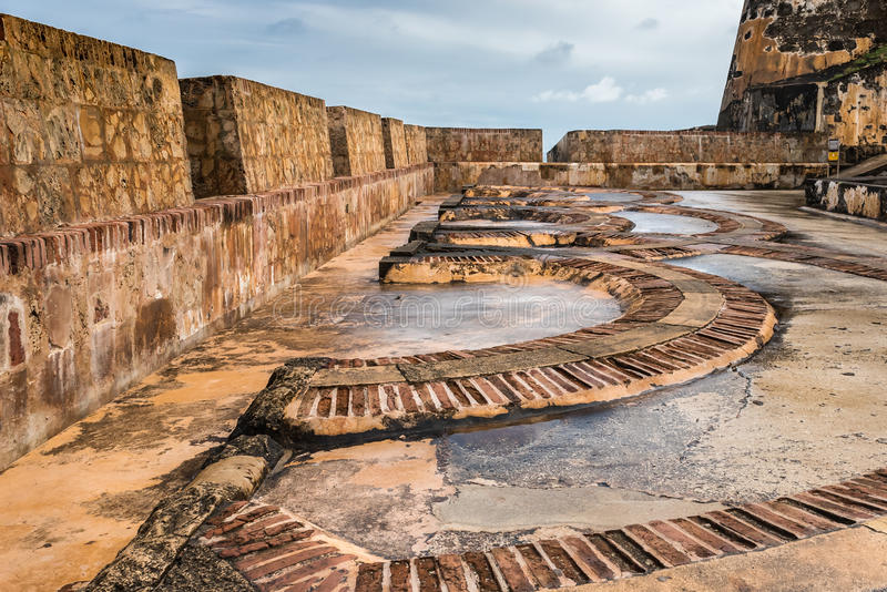 Arch floor pattern inside Castillo San Felipe del Morro. Made of bricks and stone stock photo