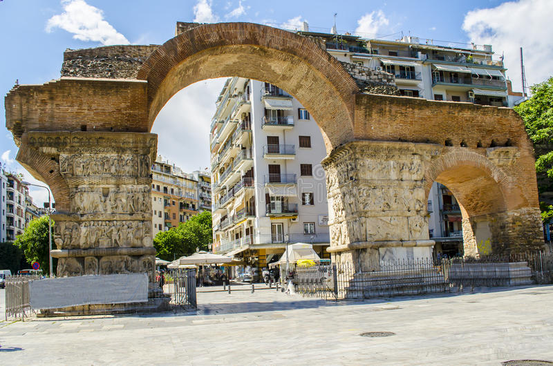 Arch of Galerius at Thessaloniki city, Greece stock photo