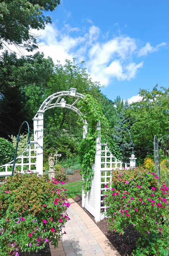 Arch in the garden stock photo