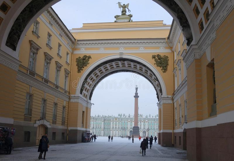 Arch of the General Staff and the Palace Square. Winter, Snow, Arch of the General Staff and the Palace Square in St. Petersburg royalty free stock photos