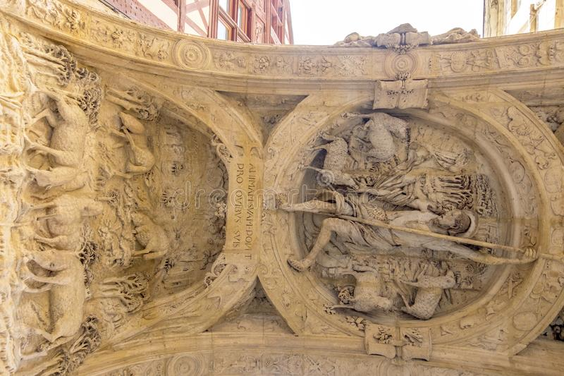 The arch of Great Clock in Rouen. Good Shepherd carving in arch of Rouen`s clock tower. Normandy, France stock images
