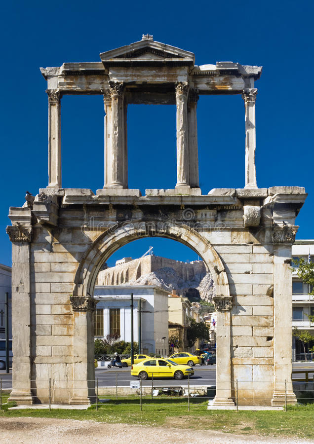 Download Arch Of Hadrian With Acropolis On Background Stock Photo - Image: 24521792