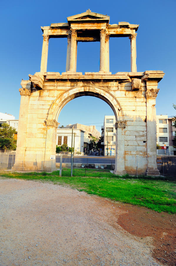 Download Arch Of Hadrian With Acropolis In  Background Stock Image - Image: 25431389