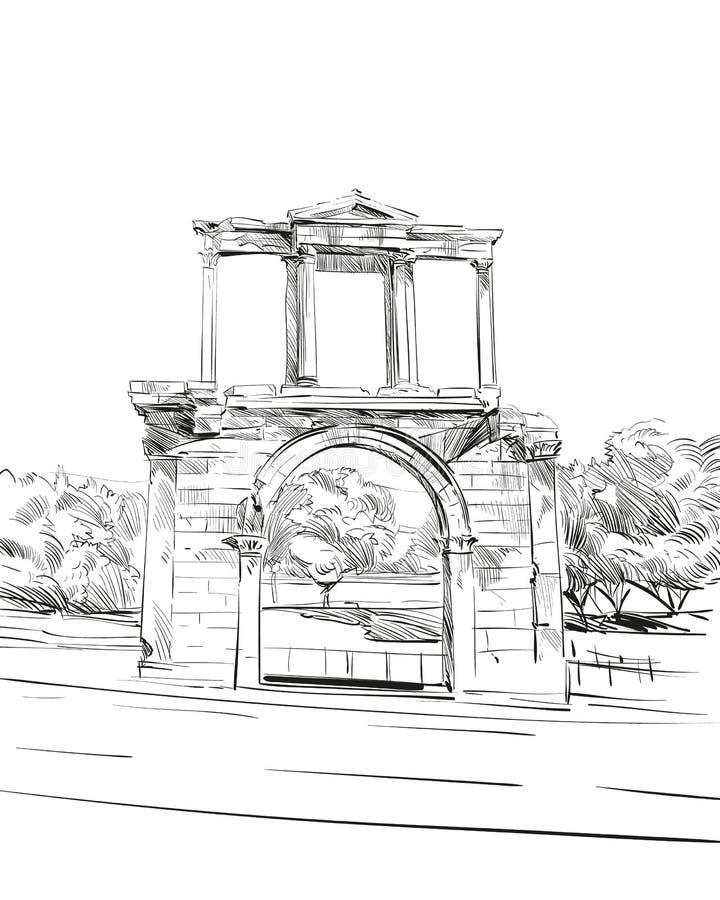 arch hadrian athens Grecja Ręka rysujący nakreślenie również zwrócić corel ilustracji wektora ilustracja wektor