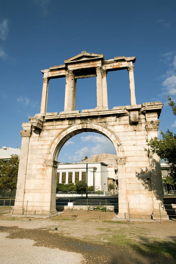 The arch of Hadrian, Athens stock photography