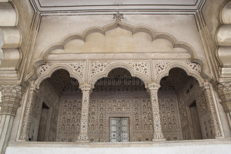 Arch hall in Agra fort stock photo