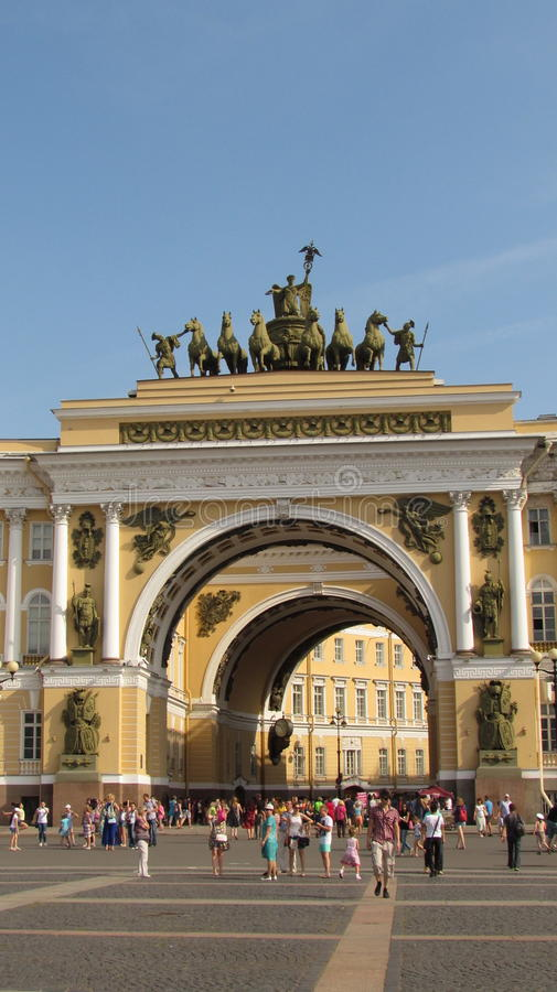 Arch with horses in St. Petersburg royalty free stock image