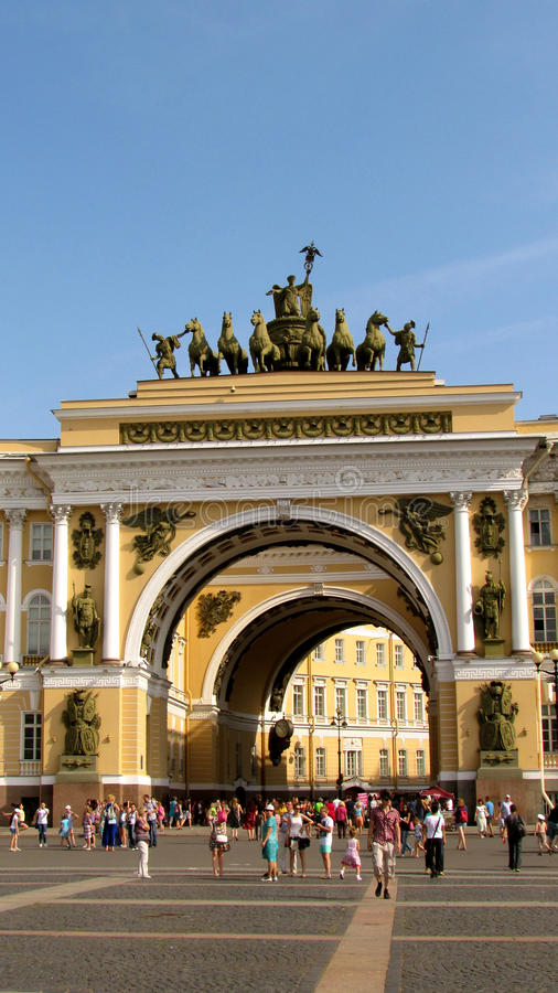Arch with horses in St. Petersburg stock photos