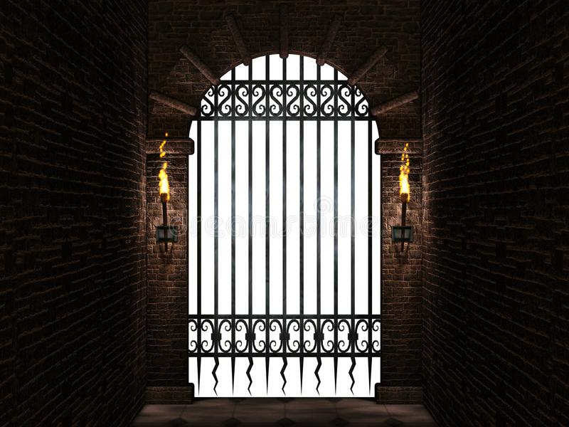 Arch with iron gate isolated stock illustration
