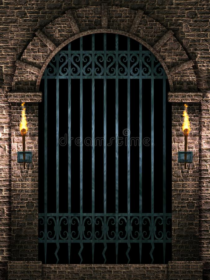 Arch with iron gate vector illustration