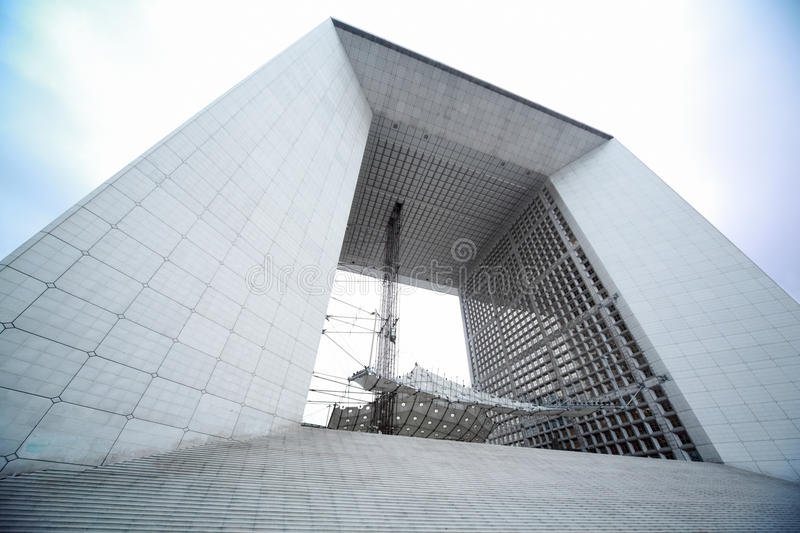 Arch in La Defense business district in Paris royalty free stock images