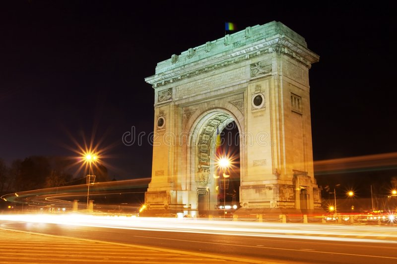 Arch light trails royalty free stock image