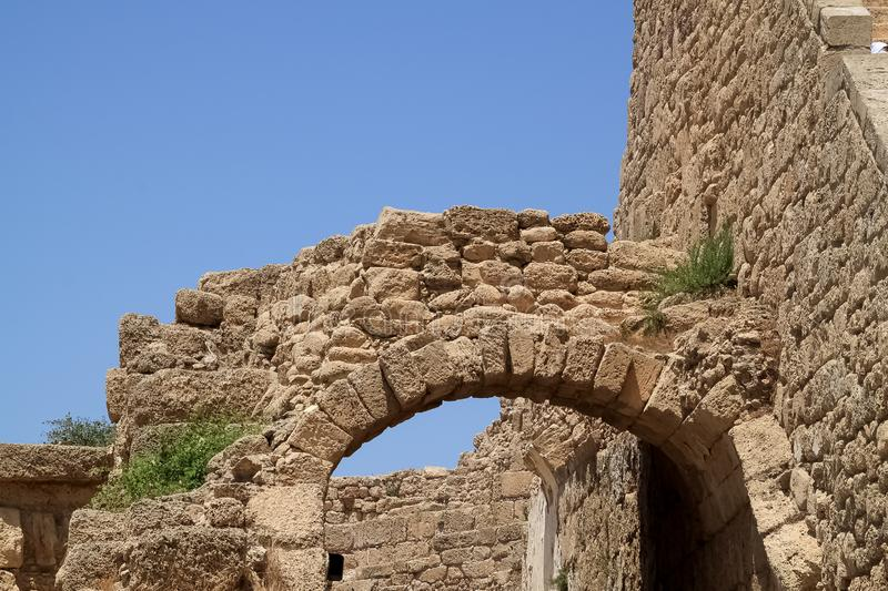 Arch located at the theater of the archaeological park of Caesarea, which has be reconstructed for modern use. In Israel royalty free stock photography