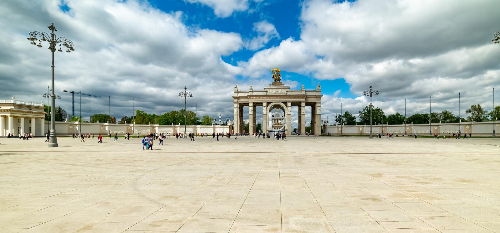 Arch of the Main entrance of VDNKH —  the main entrance to the Exhibition of achievements of the national economy. City the Moscow .Arch of the Main royalty free stock images