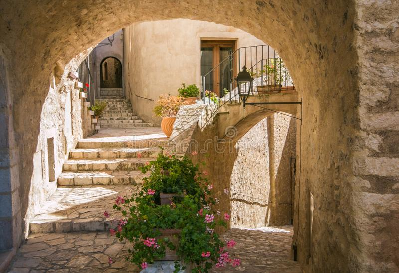 Arch in the medieval village of Postignano in Umbria stock images