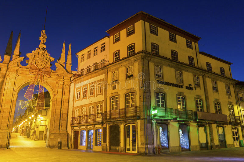 Arch of the New Gate in Braga in Portugal. During Christmas royalty free stock images