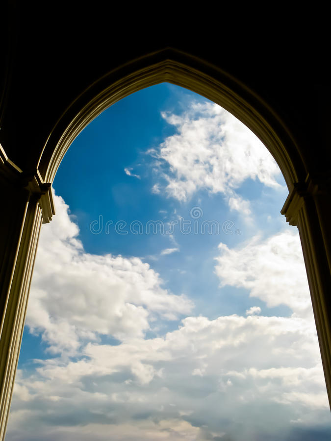 Free Arch Of Church And Sky Background Royalty Free Stock Image - 20692536
