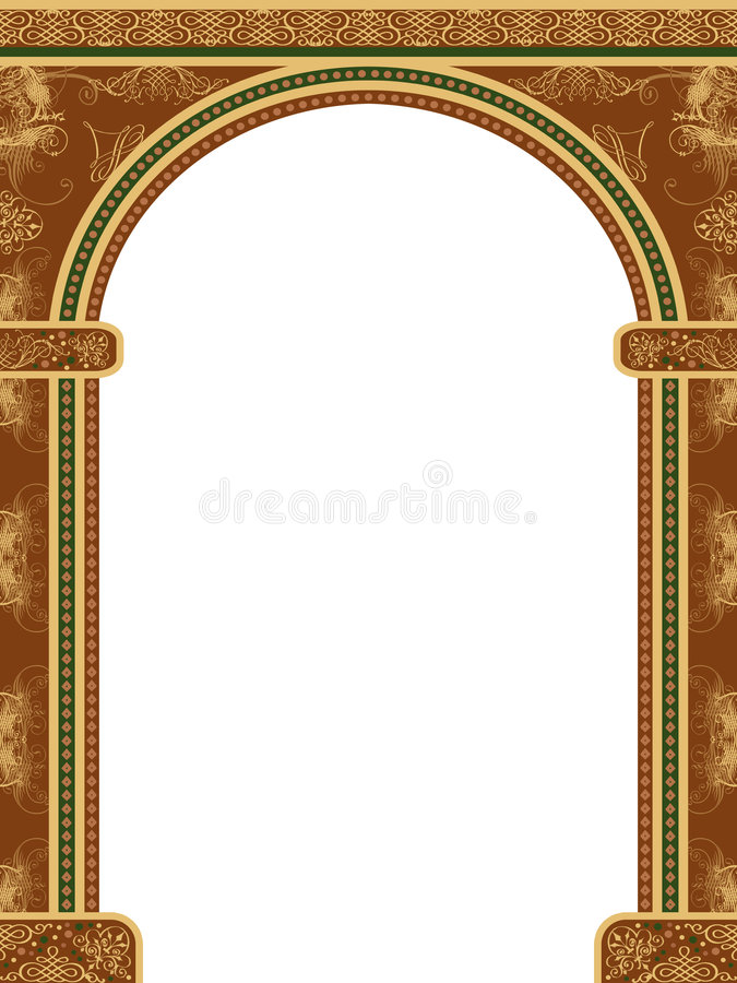 Arch with ornaments stock illustration