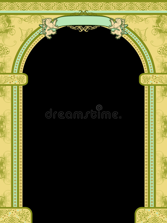 Arch with ornaments and banner vector illustration
