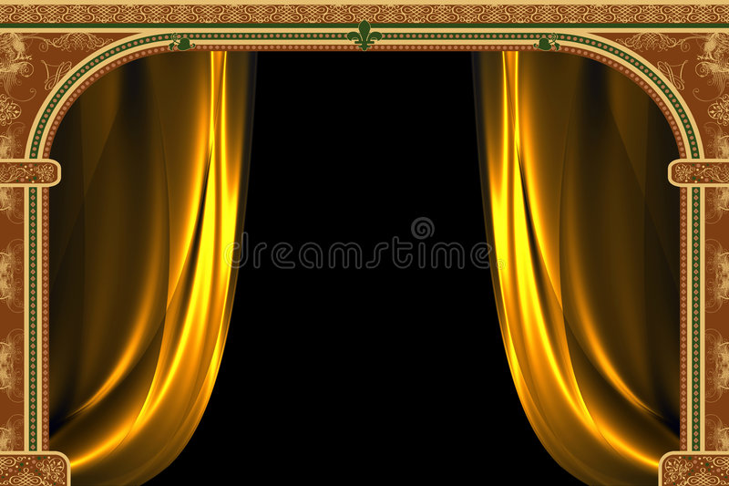 Arch with ornaments and curtai royalty free illustration