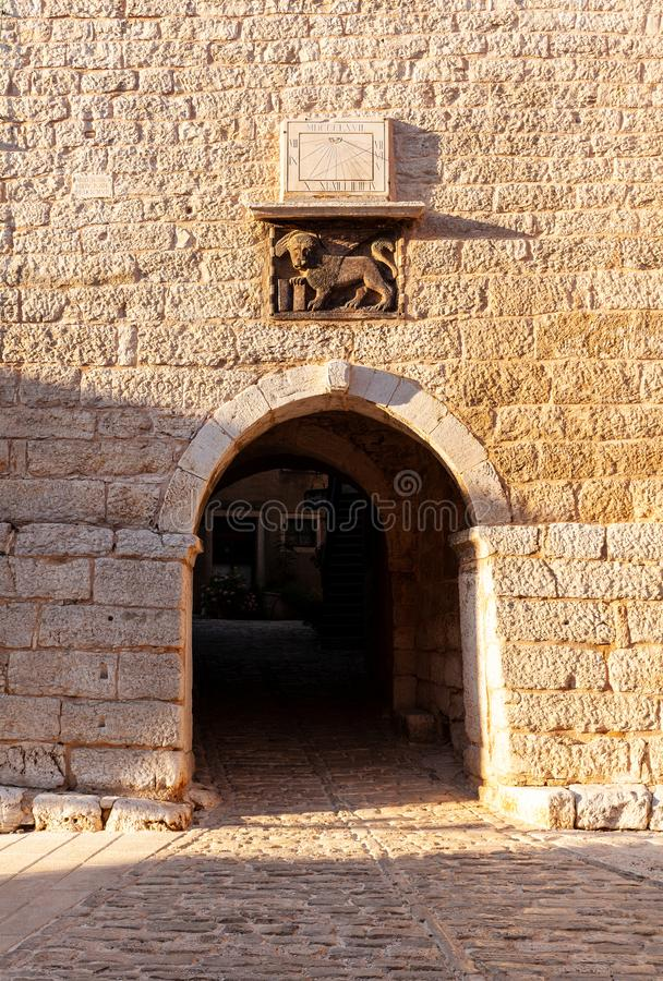 Arch ot the venetian palace called Soardo – Bembo Castle in Valle - Bale, Croatia stock photography