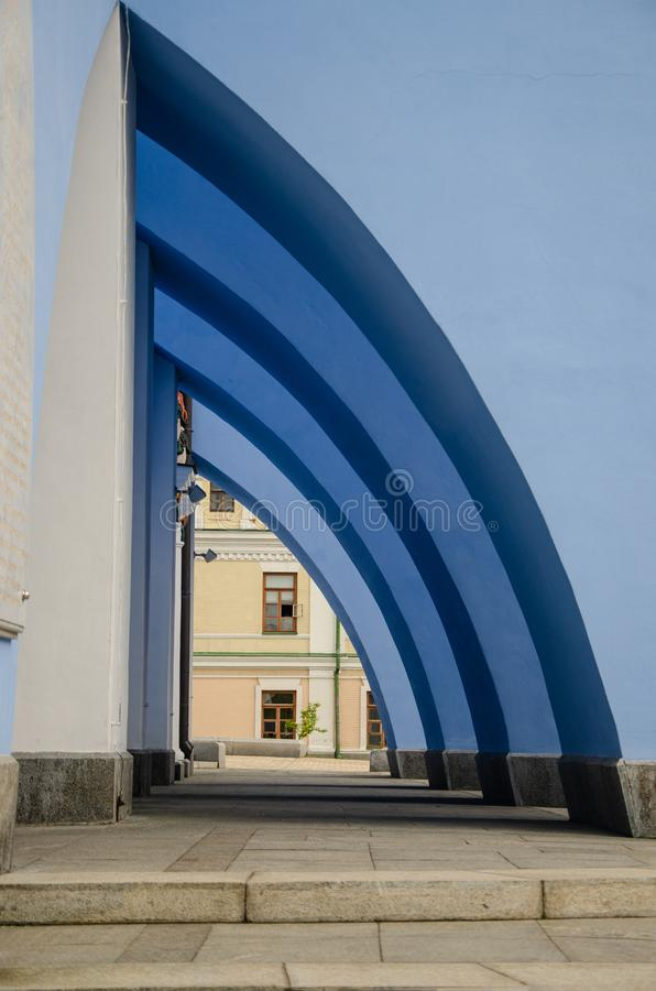 Arch, part of the architectural composition of one of the buildings. St. Michael`s Golden-Domed Monastery Kiev royalty free stock photos