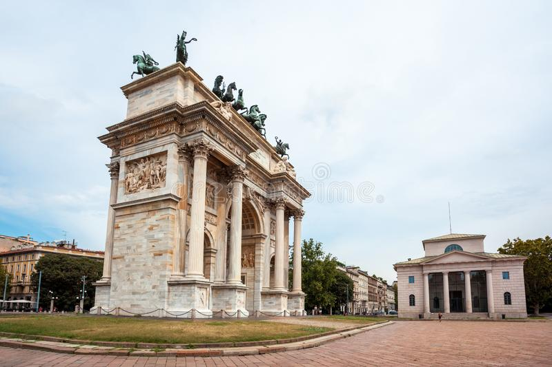 Arch of Peace, or Arco della Pace, city gate in the centre of the Old Town of Milan. Sempione park stock images