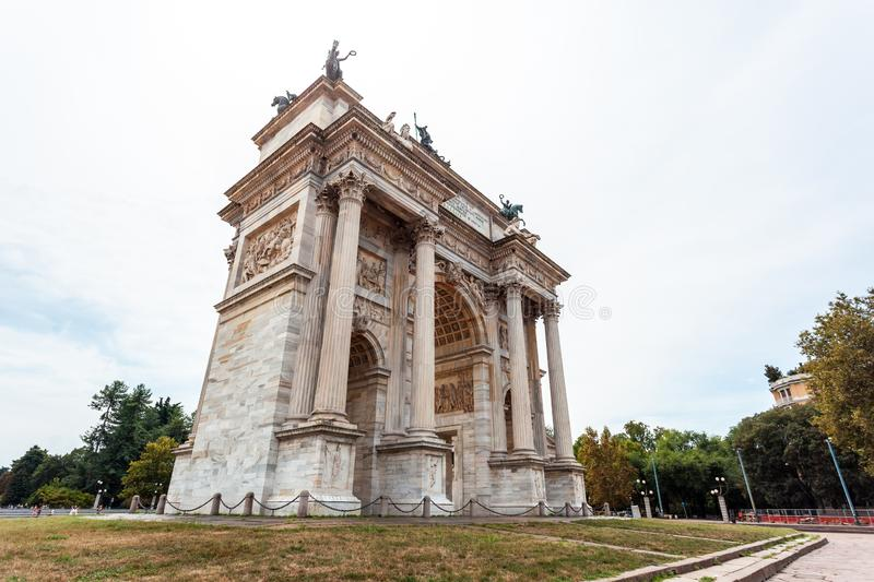 Arch of Peace, or Arco della Pace, city gate in the centre of the Old Town of Milan. Sempione park royalty free stock photos